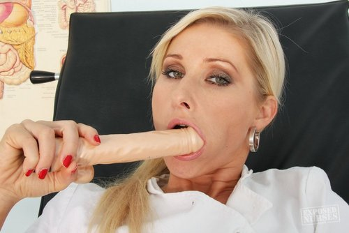 w002 350 Merry Maids Augusta Ga   Small Blonde Leona in Red Pantyhose and Nurse Uniform Strips